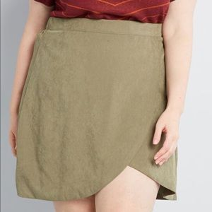 ModCloth Tempted by Tulips mini skirt in olive